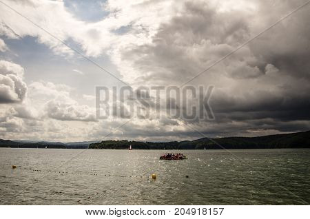 Poland lake Solina in summer time. Bieszczady.