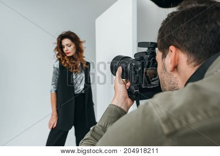 Professional Photographer And Model