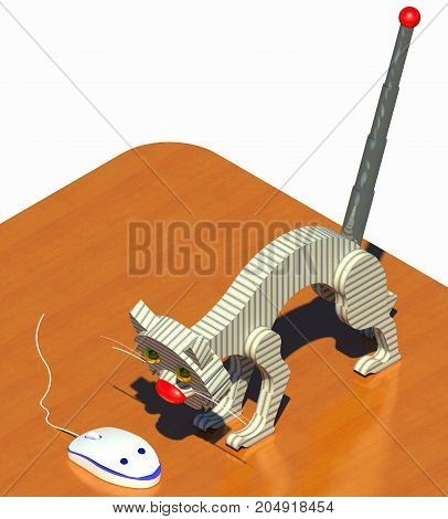 Office cat and mouse 3D illustration composition. Office desk, computer mouse, robot cat on white background. Collection.
