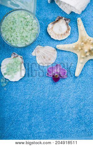 Spa Treatments On A Blue  Towel