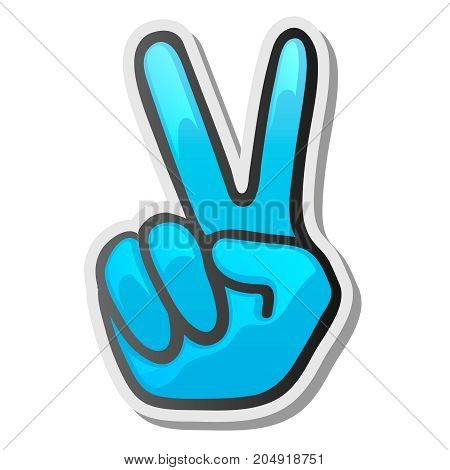 Peace hand gesture sticker, two fingers up, vector illustration.