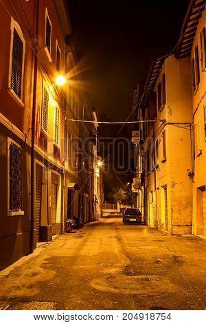 Old Night Street In Reggio Emilia