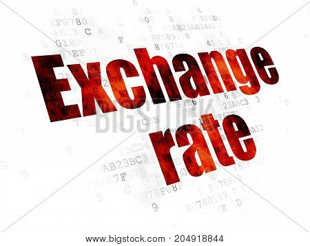 Currency concept: Pixelated red text Exchange Rate on Digital background