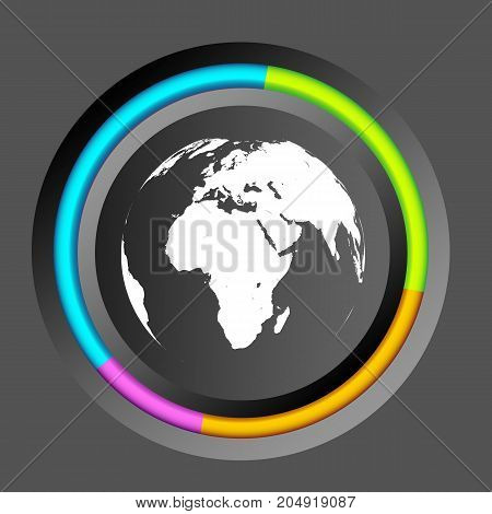 Infographic business circle diagram with round button colorful edging and globe icon on gray background vector illustration