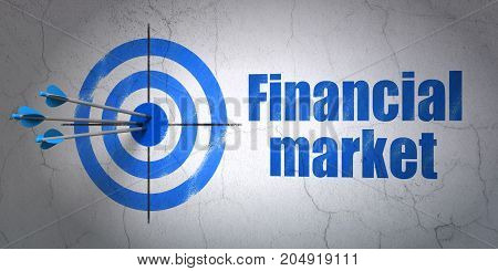 Success currency concept: arrows hitting the center of target, Blue Financial Market on wall background, 3D rendering