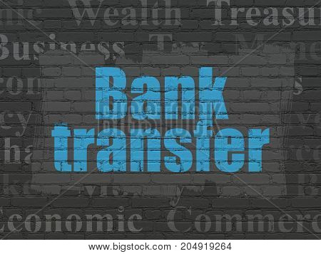 Currency concept: Painted blue text Bank Transfer on Black Brick wall background with  Tag Cloud