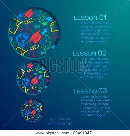 Education abstract infographics with round holes three options text and colorful icons on blue background vector illustration