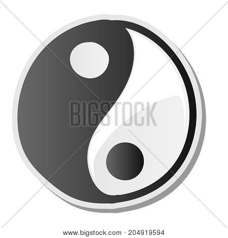 Yin yang symbol of harmony and balance sticker, vector illustration.