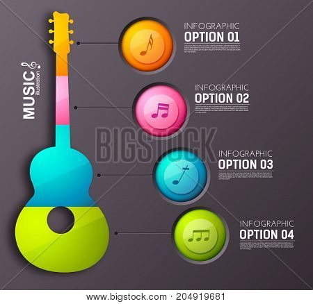 Music abstract infographics with colorful four buttons acoustic guitar and musical notes on dark background vector illustration