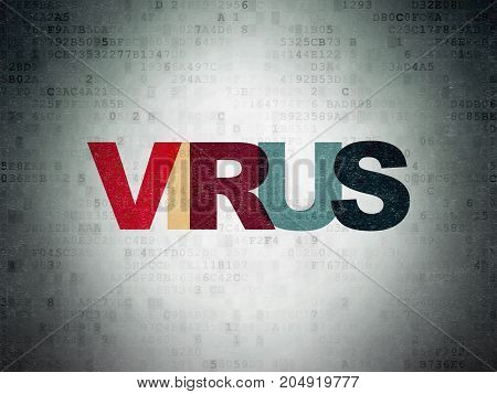 Safety concept: Painted multicolor text Virus on Digital Data Paper background