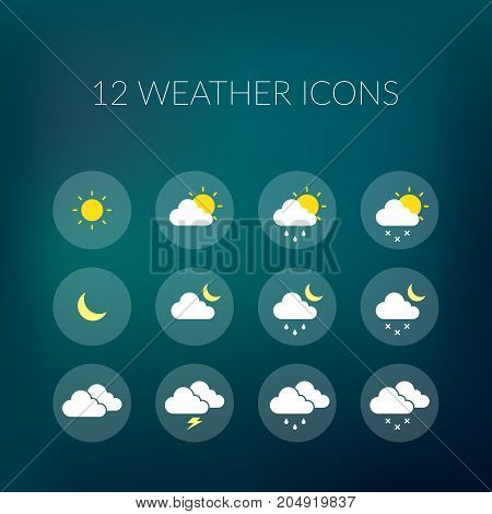 Weather colorful icons set in circles for mobile or website design on blurred background isolated vector illustration
