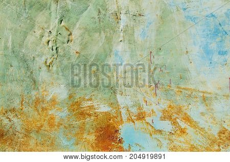 Texture Of Vintage Rusty Blue And Gray Iron Wall Background With Many Layers Of Paint And Rust