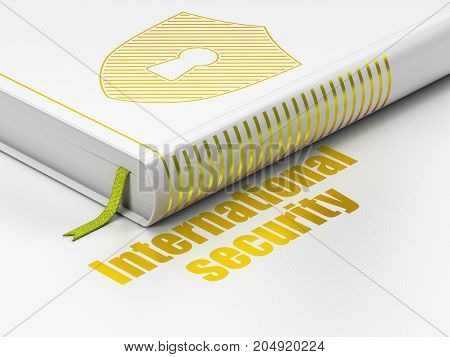 Safety concept: closed book with Gold Shield With Keyhole icon and text International Security on floor, white background, 3D rendering