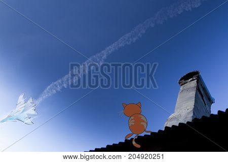 Illustration military jet flying high across a blue sky producing a striking contrail cloud behind it on and a cat sitting on a house top