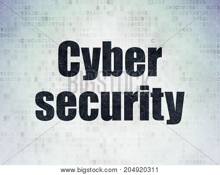Protection concept: Painted black word Cyber Security on Digital Data Paper background