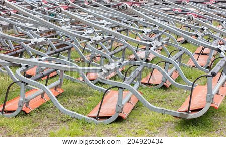 Ski Lift Chairs Waiting To Be Used In The Alps