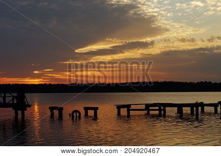 Necko lake at evening, Poland, Masuria, in podlasie.