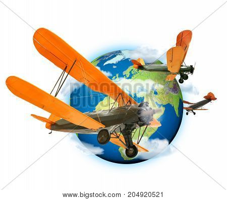 Biplanes flying around the planet Earth travel and transport concept