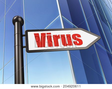Protection concept: sign Virus on Building background, 3D rendering