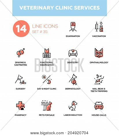 Veterinary clinic services - modern vector single line icons set. Examination, vaccination, spaying, diagnostics, dentistry, ophthalmology, surgery, day, night, dermatology, nail, trimming, pharmacy poster