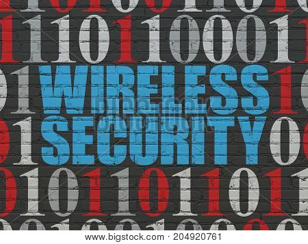 Protection concept: Painted blue text Wireless Security on Black Brick wall background with Binary Code