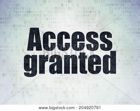 Security concept: Painted black word Access Granted on Digital Data Paper background