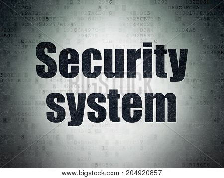 Privacy concept: Painted black word Security System on Digital Data Paper background