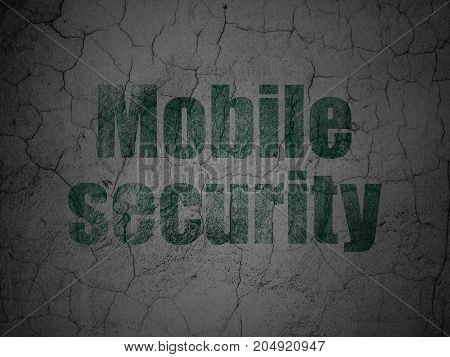 Privacy concept: Green Mobile Security on grunge textured concrete wall background