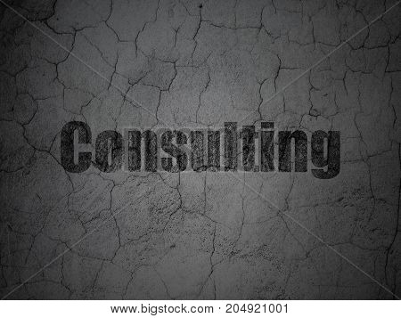 Finance concept: Black Consulting on grunge textured concrete wall background