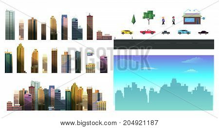 Constructor for night city background. Easy to create your own view of the city, with separate elements - buildings, road, cars, background. Compatible with my other city constructor sets.