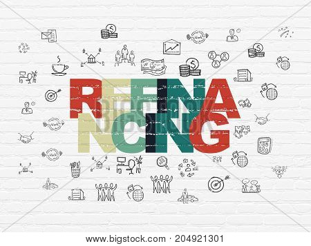 Business concept: Painted multicolor text Refinancing on White Brick wall background with  Hand Drawn Business Icons