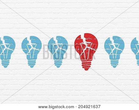Finance concept: row of Painted blue light bulb icons around red light bulb icon on White Brick wall background