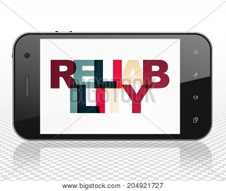 Finance concept: Smartphone with Painted multicolor text Reliability on display, 3D rendering