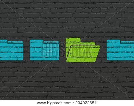 Business concept: row of Painted blue folder icons around green folder icon on Black Brick wall background