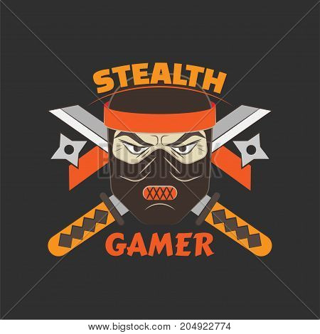 Stealth gamer logo with ninja and swords and ninja asterisks.  Gaming profile avatar.