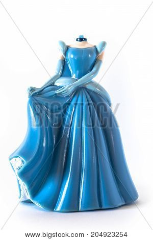 Puppet on a white background of a Cinderella without the head. poster