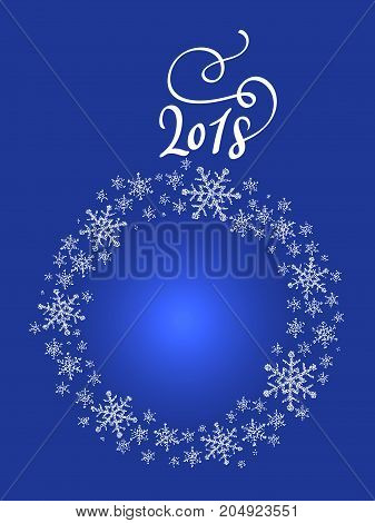 New Years stylized holiday ball and 2018 on a blue background.