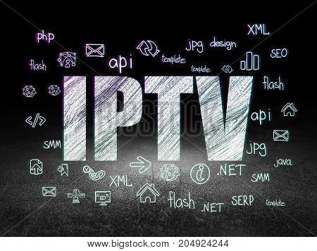 Web development concept: Glowing text IPTV,  Hand Drawn Site Development Icons in grunge dark room with Dirty Floor, black background