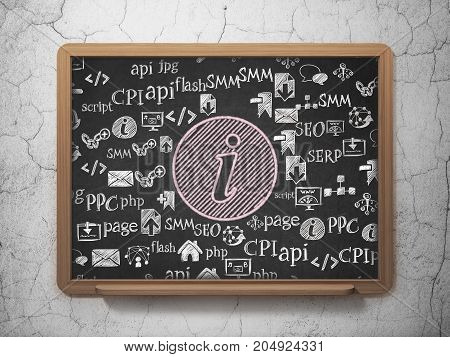 Web development concept: Chalk Pink Information icon on School board background with  Hand Drawn Site Development Icons, 3D Rendering