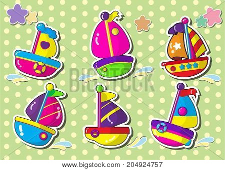 set of sailboat.vector cartoon style sticker.ship cartoon.
