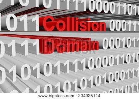 Collision domain in the form of binary code, 3D illustration