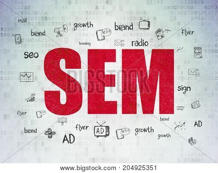 Advertising concept: Painted red text SEM on Digital Data Paper background with  Hand Drawn Marketing Icons
