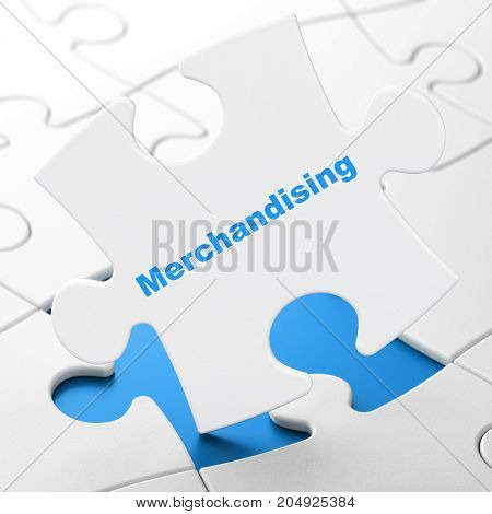 Advertising concept: Merchandising on White puzzle pieces background, 3D rendering poster