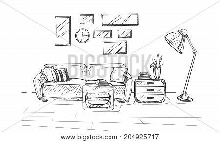 Hand drawn sketch of modern living room interior. Room interior with a couch and pillows lamp and small coffee table. Vector illustration