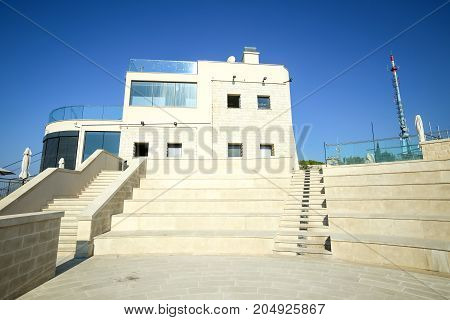 DUBROVNIK CROATIA - JULY 19 2017 : The viewpoint building of cable car on Srd hill above Dubrovnik Croatia.