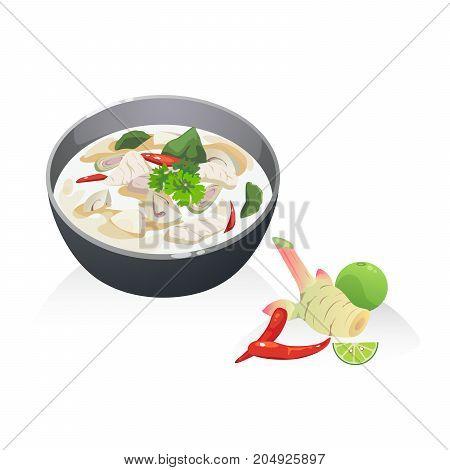 Tom Kha Kai soup Thai soup with coconut milk chicken breast mushroom.