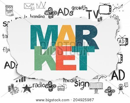 Marketing concept: Painted multicolor text Market on Torn Paper background with  Hand Drawn Marketing Icons