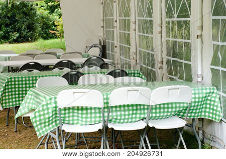 Group of Green chairs in outdoor Marquee
