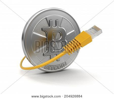 3d illustration. Computer Cable and Bitcoin. Image with clipping path