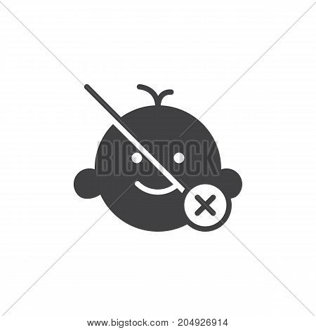 Not suitable for children under age x icon vector, filled flat sign, solid pictogram isolated on white. Symbol, logo illustration